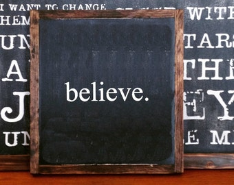 Hand Painted Rustic Wood Believe Sign Distressed Black Wall Decor Wall Hanging  Sign Listing #109