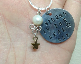 "Steven Universe Pearl Necklace Hand Stamped Charm ""Strong in the Real Way"" w/Matching Earring Option!"
