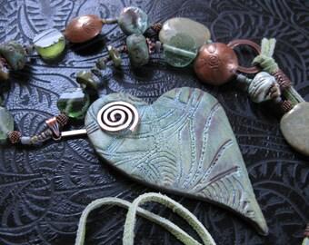 Heart shaped Raku Sea Glass Suede Pendant Necklace
