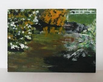 Original Landscape painting- Thurstaston Lake, Mothers day gifts, Wirral art, mini landscape, Summer landscape