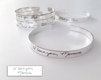 Custom Handwriting Cuff Bracelet 1/4in wide, Writing on silver, personalized gift, handwriting on silver cuff, handwriting jewelry