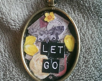 Let Go - Handmade Collage Pendant