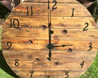 Large Wooden Spool Clock