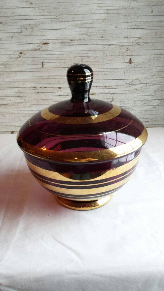 Vintage Made in Rumania Gold Leaf Painted Covered Amethyst Candy Bowl