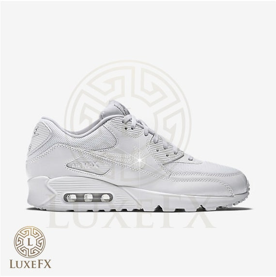 good Womens Mens Nike Air Max 90 White W Crystal Swarovski by LuxeFX ... 7f023832e
