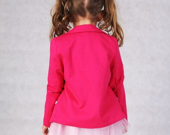 Blazer for Girls in Pink colour and Gray Marl Lining