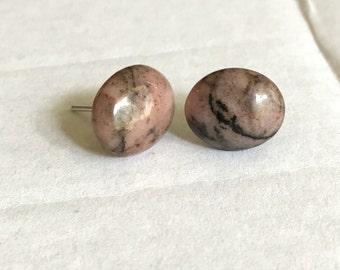 Pink rhodonite stud earrings