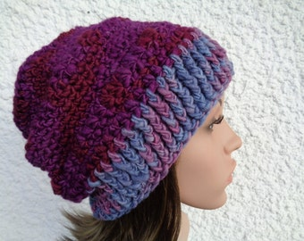 Crochet hat, handspun hat, wool hat, beanie, slouchy beanie, winter hat, purple beanie, purple hat, merino wool hat, 20 inch, 22 inch