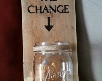 KEEP THE CHANGE Kerr mason jar Laundry loose coin holder