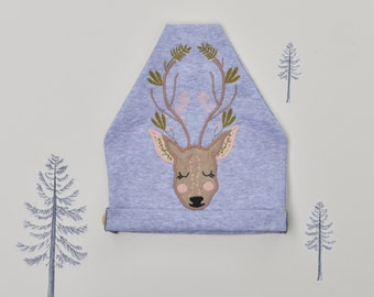 Cotton Beanie with Deer Aplique