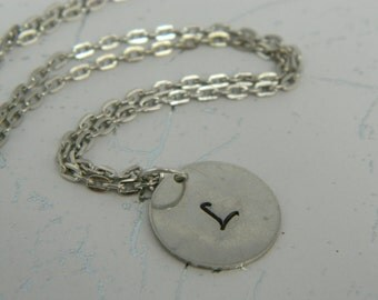 Hand Stamped Pewter Initial Necklace