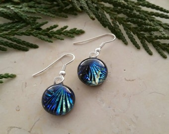 Fused Glass Dangle Earrings, Dazzling Dichroic Glass with Blues, Greens, and Yellow 16110