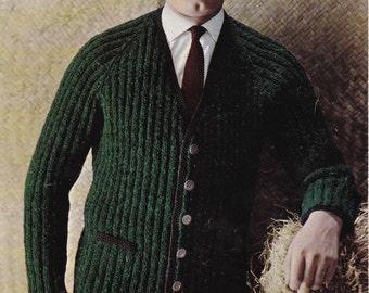 Men's Cardigan in Double Knitting - Vintage Knitting Pattern - Patons 1413