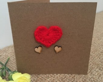 Red crochet Heart Greeting Card