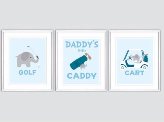 Items Similar To Baby Boy Golf Elephant Nursery Art Decor Daddy 39 S Little