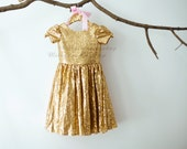 Cap Sleeves Champagne Gold Sequin Flower Girl Dress Junior Bridesmaid Wedding Party Dress M005