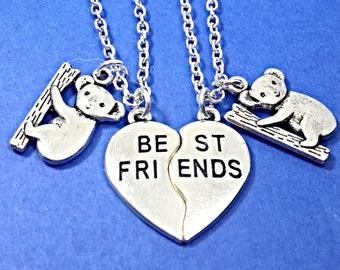 Set of 2 Best friend necklace, koala bear necklace, koala bear charm, personalized, set of two bff, initial necklace, initial charm,koala