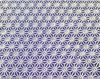 50x80 cm- Japanese fabric pattern Blue stars ASANOHA  100% cotton