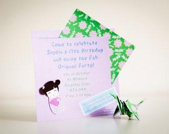 DIY Origami Party Invitation - Custom Invitation - 'Beatriz Invitation'