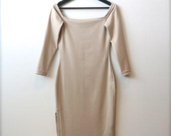 HANADEEN AHNA Off-Shoulder Dress - Long-Sleeved, Side Slit