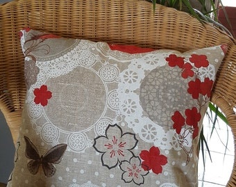 Butterflies and linen Cushion cover