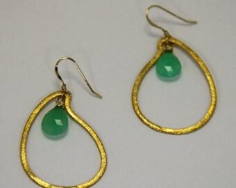 Valentine Sale Emerald Chrysoprase & Gold drop Earrings, Green Boho Earrings