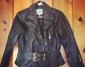 Telina 90s Black Leather Motorcycle Jacket Womens Size Medium Rare