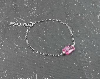 Pink rectangular Swarovski crystal bracelet, sterling silver 925