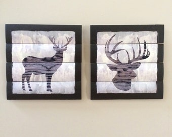 DEER silhouettes wooden wall decor set