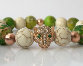 18kt Rose Gold Leopard Head, 11mm CZ Diamond  bracelet with 10mm Imperial Sea Jasper and Howlite beads. Men's or Women's Bracelet