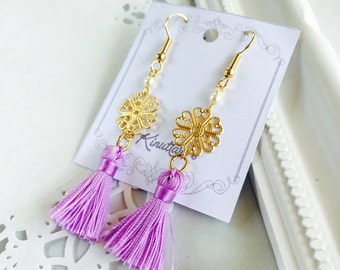 Purple Tussels and Metal Lace Earrings