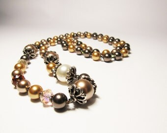 Long Swarovski Pearl Crystal Necklace/ Classy Wedding Necklace