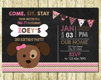 Girl Puppy Paw-ty Digital Chalkboard Invitations