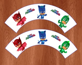 PJ Masks Printable Cupcake Wrappers - Instant Download