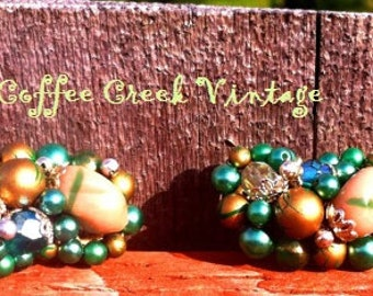 Vintage Earrings- Green and Gold Cluster