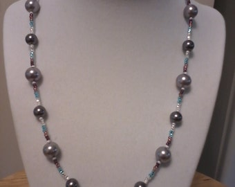 Faux pearl beaded necklace, gray/purple/blue multi
