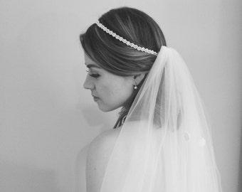 Bridal Headband, Pearl Swarovski Headpiece