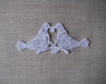 White Venise Lace Applique Doves great for a wedding card or scrapbook album