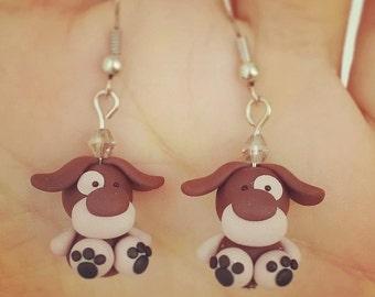Puppy Earrings - Cute Dog Jewelry - Dog Polymer Clay - Dog Earrings - Animal Jewelry - Puppy Fashion Earrings