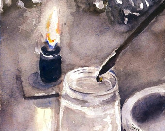 Painting by candlelight. Print of watercolor painting. Home decor, office decor, or greeting card.