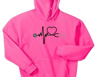 Heartbeat Stethoscope Hoodie Sweatshirt Hot Pink Nurse Doctor RN CNA LVN Medical Hoody
