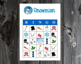 Snowman Winter Bingo 30 Printable Christmas Holiday Party Bingo Game Cards