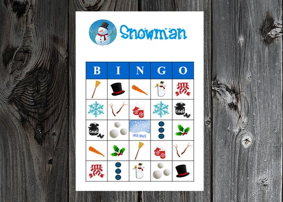 snowman winter bingo 30 printable christmas holiday party