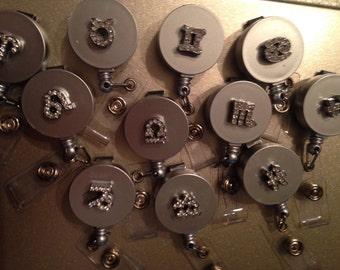 Rhinestone zodiac retractable badge holders