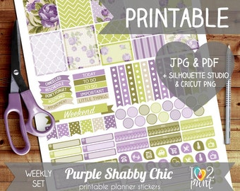Purple Shabby Chic Printable Planner Stickers, Erin Condren Planner Stickers, Weekly Planner Stickers, Lavender Stickers, SILHOUETTE/ CRICUT