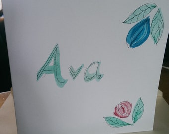 Ava hand-painted name card new baby