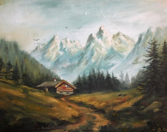 1986 European large oil painting landscape signed