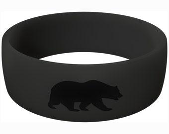 Men's Athletic Black Silicone Ring