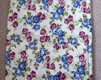 Vintage 1940's Feedsack Fabric - Blue and Maroon Floral