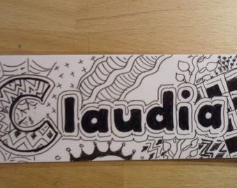 Bookmark with name, black & white, hand painted
